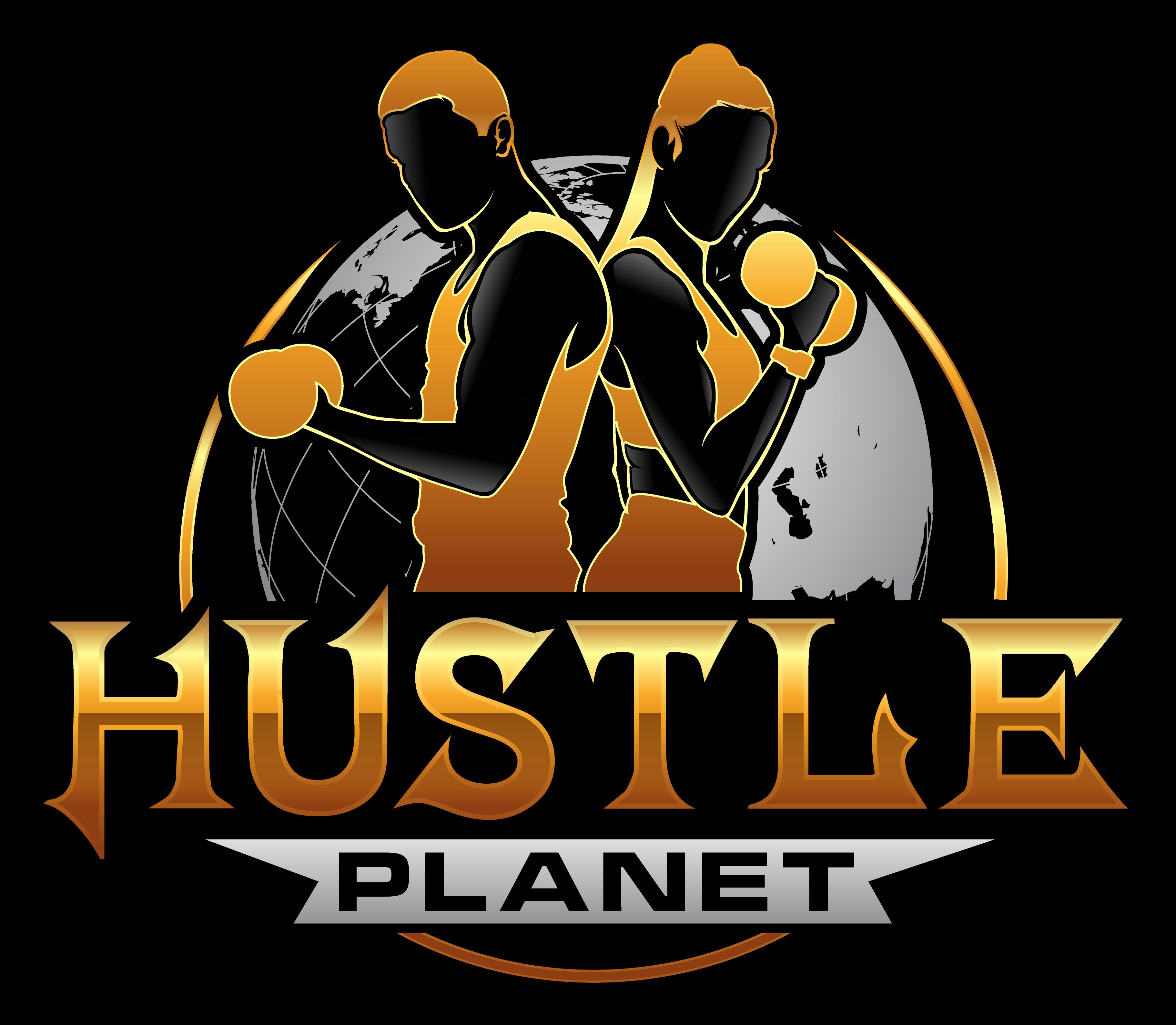 Hustle Planet Logo. Business, Fitness, Motivation, Inspiration, entrepreneur