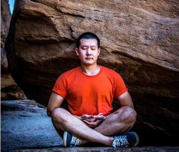 Man meditating, Hustle Planet. Fitness, Gym, Motivation.